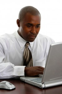 African american business man on a white background