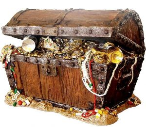 image of wooden box with coins and jewelry inside